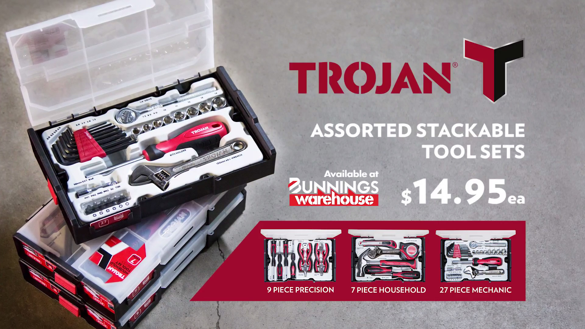 ASSORTED STACKABLE TOOL SETS